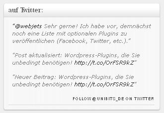 Latest Twitter Sidebar Widget