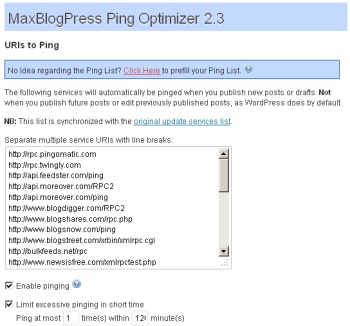 MaxBlogPress Ping Optimizer