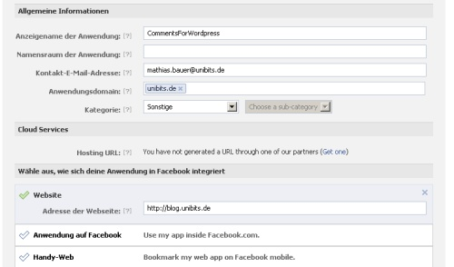 Facebook App registrieren