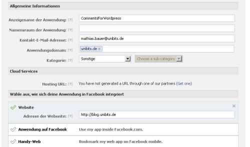 Facebook App registrieren