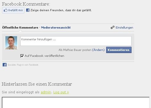 Facebook Kommentare direkt auf dem Blog